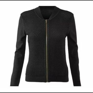 CAbi Black Textured Zip Up Jacket
